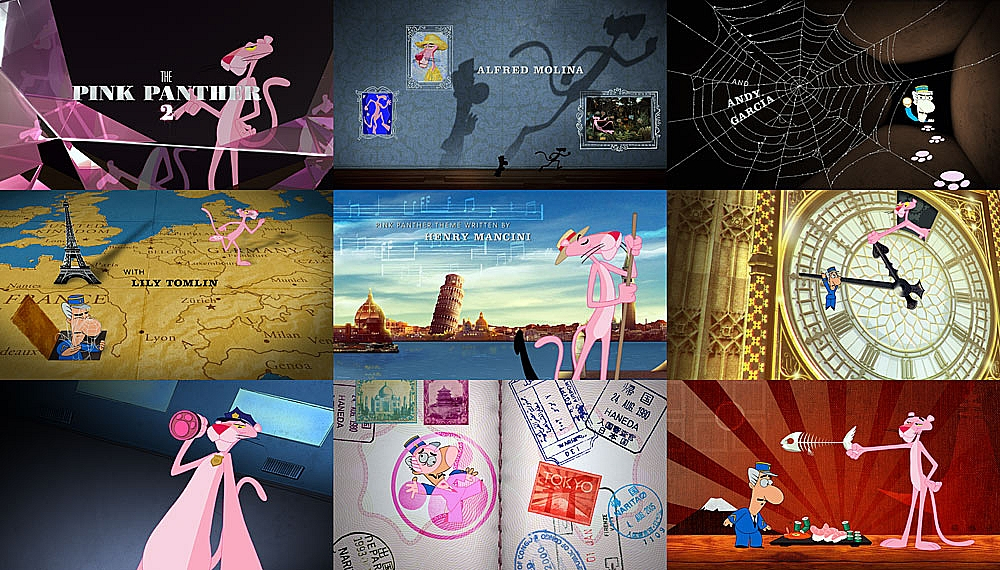 Stills from The Pink Panther 2 main title by Karin Fong Imaginary Forces