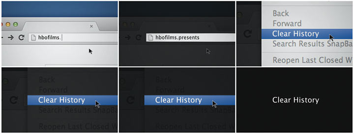 Clear History title sequence, storyboard